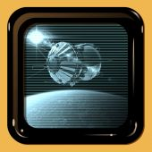 Retro TV display with first spaceship — Stock Photo
