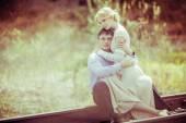 Couple on the railway — Stock Photo