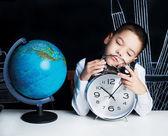 Sleeping schoolboy — Stock Photo