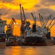 Port of Gdansk at sunset — Stock Photo #54822021