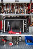 Fire truck equipment — Stock Photo