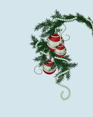 Fur-tree branch with Christmas balls — Foto Stock
