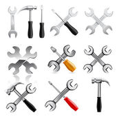 Work tool icon set. Vector — Stock Vector