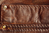Couro marrom com costura — Foto Stock