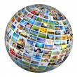 Globe with various pictures — Stockfoto #64003381