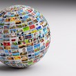 Globe with pictures of people — Stockfoto #64003463