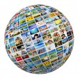 Globe with pictures of people — Stock fotografie #64003505