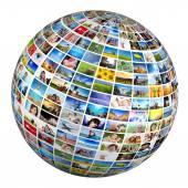 Globe with various pictures — Stock Photo
