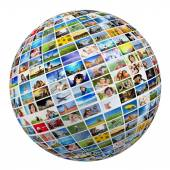 Globe with pictures of people — Stock Photo