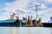 Ship under construction, repair — Stock Photo