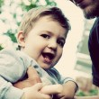 Son with father, happy moments — Stock Photo #77544556