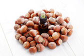 Essential oil and hazelnuts — Stock Photo