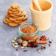 Homemade gingerbreads and spices — Stock Photo #58483133