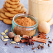 Homemade gingerbreads and spices — Stock Photo #58483335