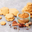 Homemade gingerbreads and spices — Stock Photo #58483337