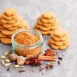 Homemade gingerbreads and spices — Stock Photo #58483361