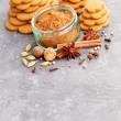 Homemade gingerbreads and spices — Stock Photo #58483395