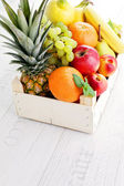Box full of fresh fruits — Stock Photo