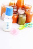First baby food in jar — Stock Photo