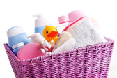 Basket full of baby accessories — Stock Photo