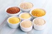 Various groats in bowl — Stock Photo