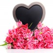 Lots of pink tulips with heart — Stock Photo #70880345