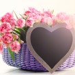 Lots of pink tulips with heart — Stock Photo #70880533