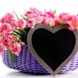 Lots of pink tulips with heart — Stock Photo #70880561