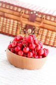 Bowl of fresh red cherries — Stock Photo