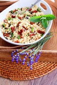 Bowl of bulgur salad  with dry tomato — Foto Stock