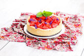 Homemade strawberry cheesecake — Stock Photo
