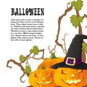 Halloween autumn background with three pumpkins isoalted on whit — 图库矢量图片