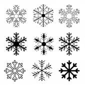 Set of vector snow flakes on white background, vector — Stock Vector