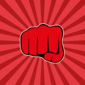Fist on red background, vector — Stockvector