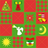 Christmas festive seamless quilt pattern — Stock Vector