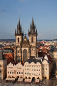 Prague - 6 july 2013. Church of Our Lady before Tyn at dusk, Prague — Stock Photo