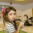 Little girl in kitchen washes the dishes — Stock Photo #59036319