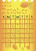 Leaf calendar for 2015. October . vector — Vector de stock