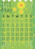 Leaf calendar for 2015. May . vector — Stock Vector
