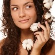 Woman Holding Cotton — Stock Photo #51999075