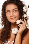 Woman Holding Cotton — Stock Photo