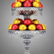 Metallic vase with christmas balls isolated on gray background — Stock Photo #53454375