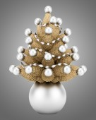 Christmas cone tree decoration isolated on gray background — Stock Photo
