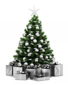 Decorated christmas tree with gift boxes isolated on white backg — Stock Photo