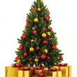 Decorated christmas tree with gift boxes isolated on white backg — Stock Photo #54970881