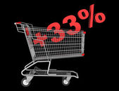 Shopping cart with plus 33 percent sign isolated on black backgr — Stock Photo