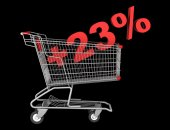 Shopping cart with plus 23 percent sign isolated on black backgr — Stock Photo