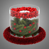 Christmas table decoration with candle isolated on gray backgrou — Stock Photo