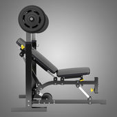 Gym adjustable weight bench with barbell isolated on gray backgr — Stock Photo