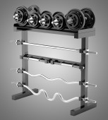 Gym weight rack isolated on gray background — Stock Photo